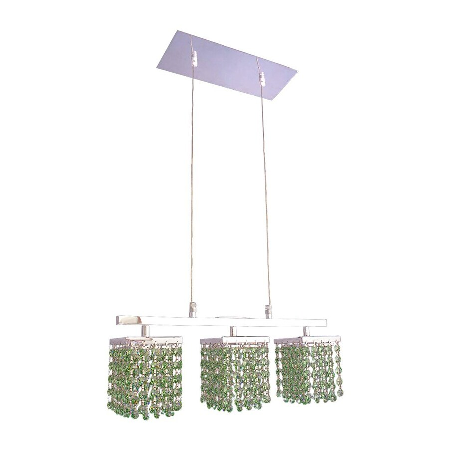 Classic Lighting Bedazzle 18-in W 3-Light Chrome Crystal Kitchen Island Light with Crystal Shade