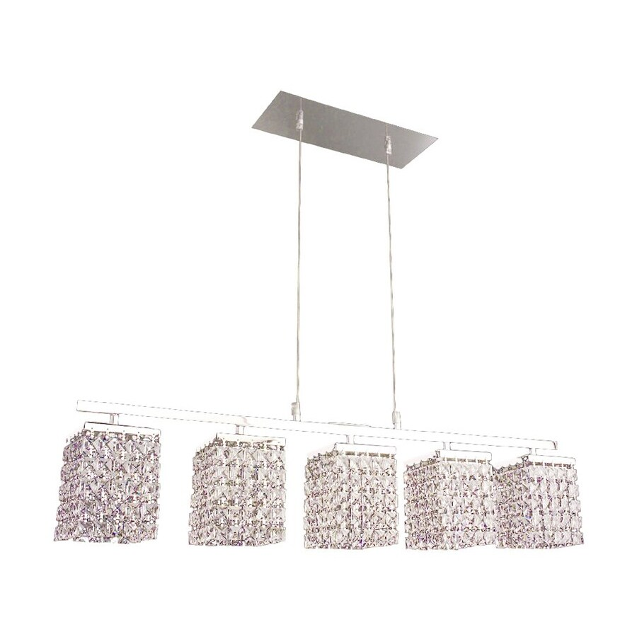Classic Lighting Bedazzle 32-in W 5-Light Chrome Crystal Kitchen Island Light with Crystal Shade