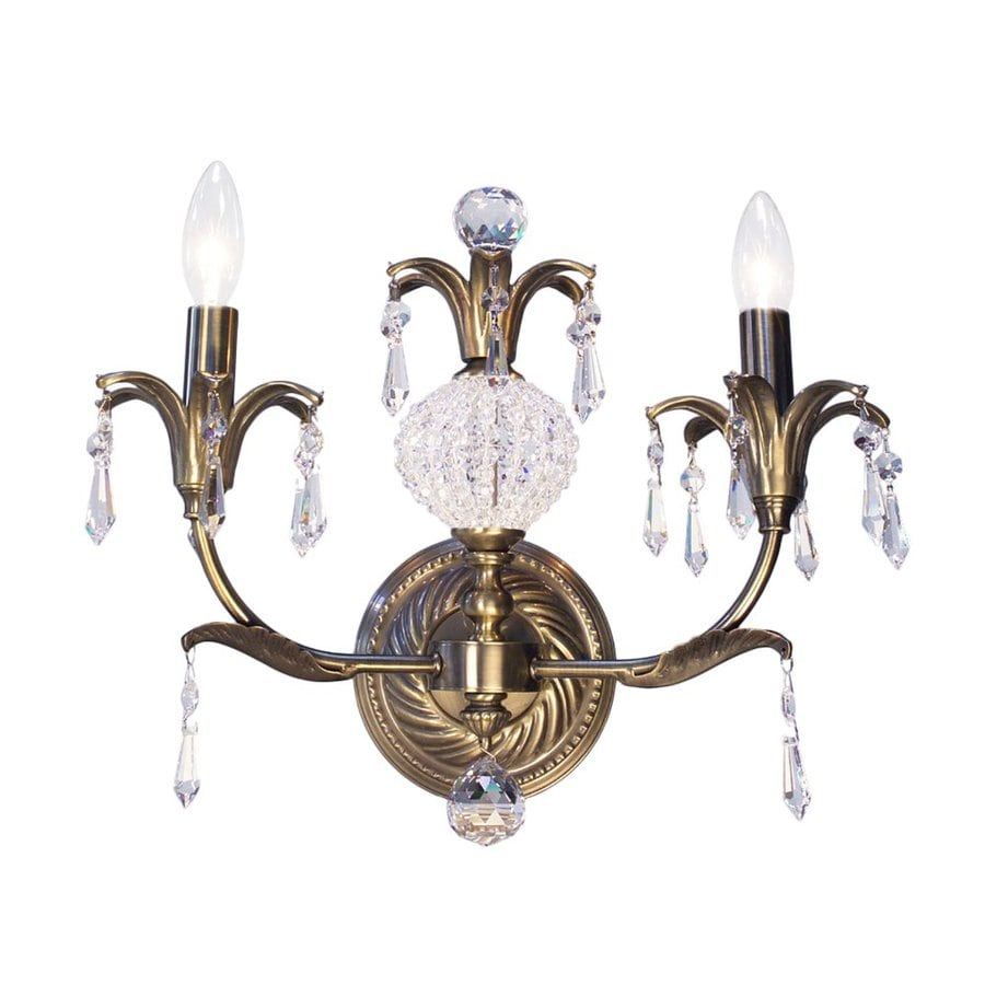 Classic Lighting Sharon 14-in W 2-Light Antique Brass Crystal Accent Arm Hardwired Wall Sconce