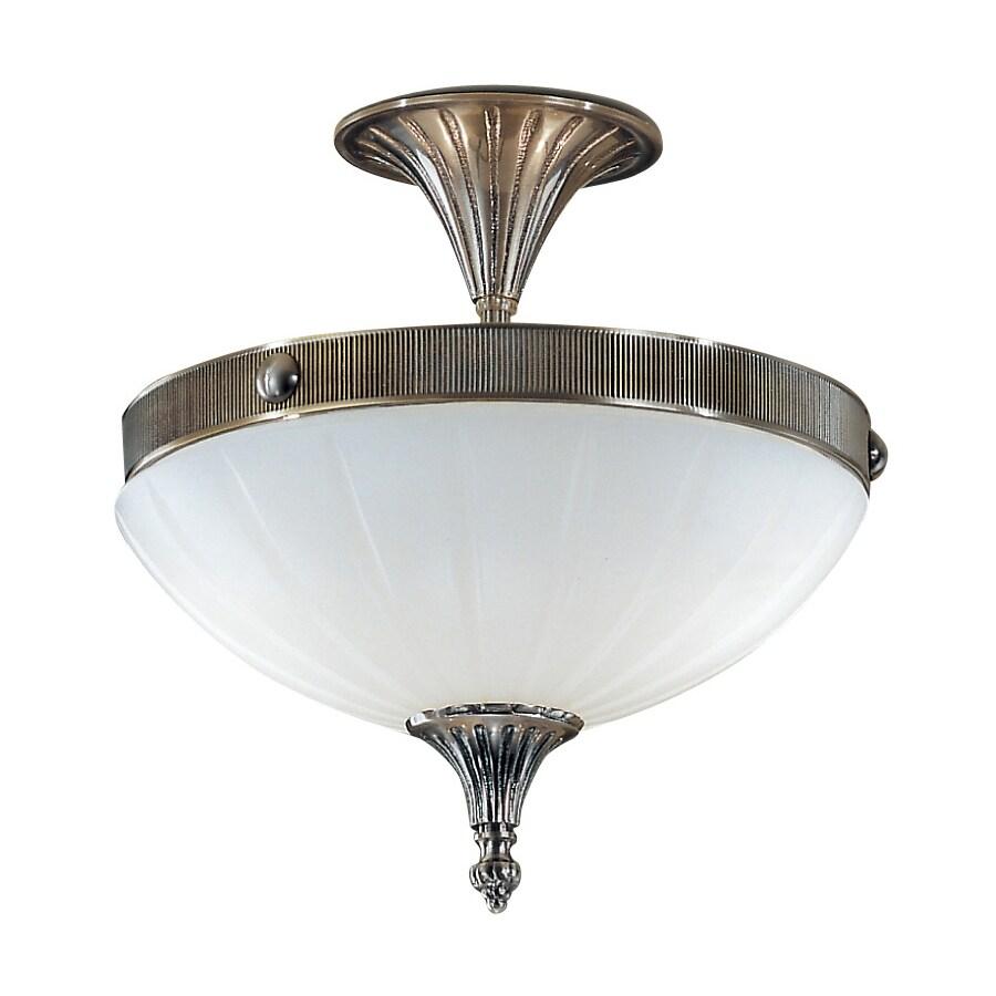 Classic Lighting Chelsea 12-in W Pewter Semi-Flush Mount Light