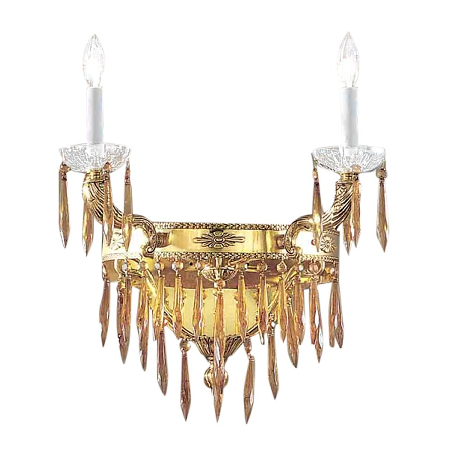 Classic Lighting Duchess 18-in W 2-Light Bronze with Black Patina Crystal Accent Arm Hardwired Wall Sconce