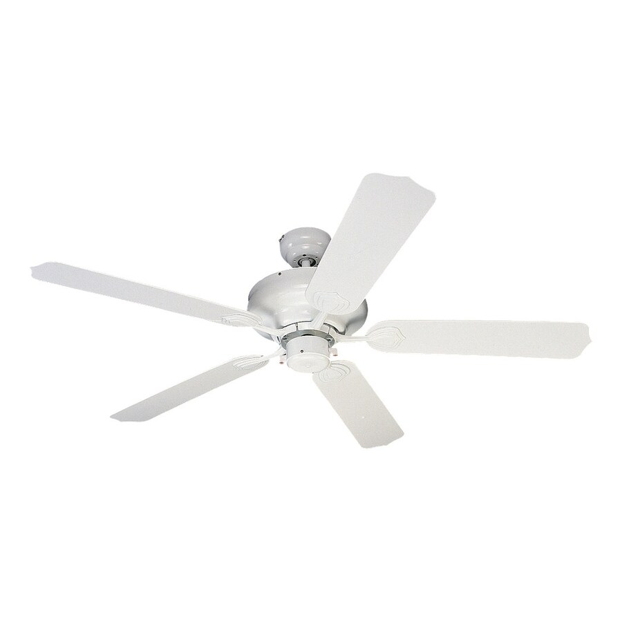 Sea Gull Lighting Long Beach 52-in White Downrod or Close Mount Indoor/Outdoor Ceiling Fan (5-Blade) ENERGY STAR