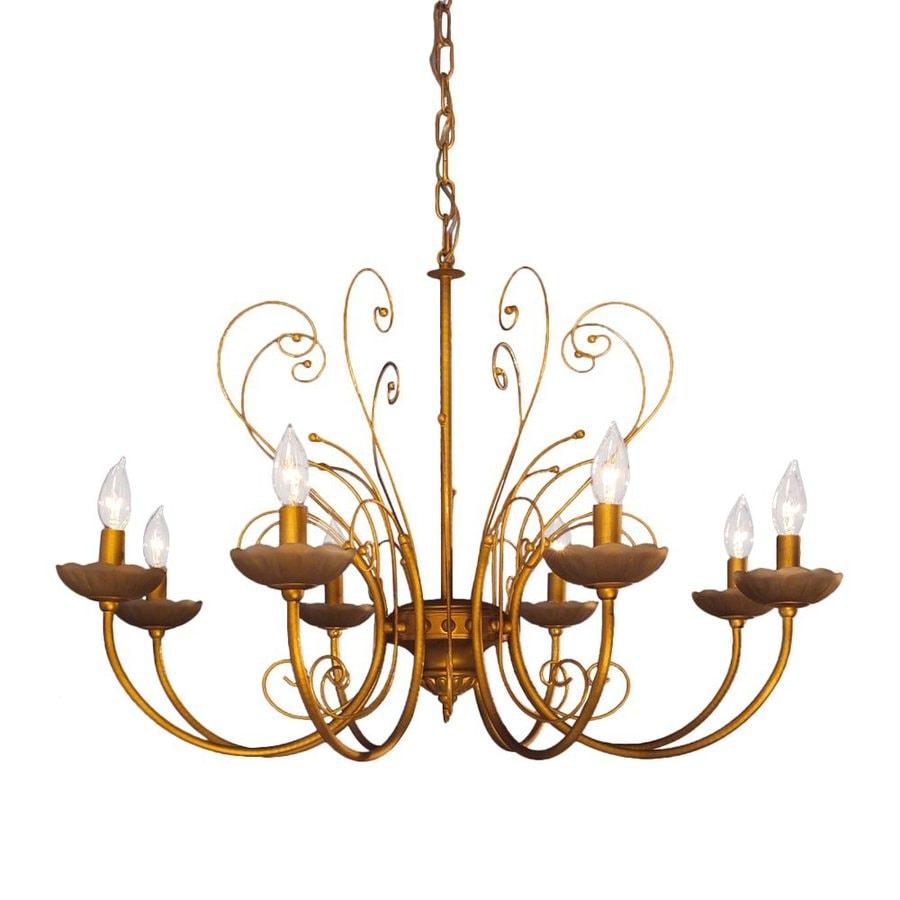 Classic Lighting Belleair 31-in 8-Light Mocca Gold Vintage Candle Chandelier