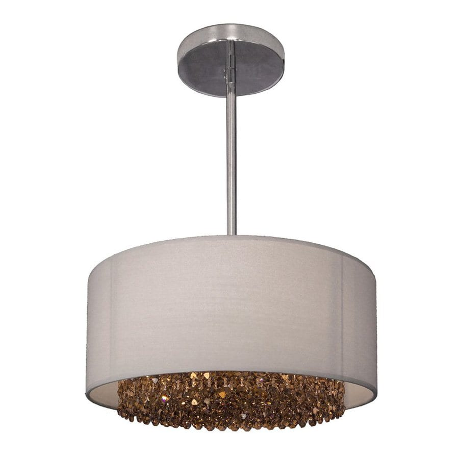 Classic Lighting Newport 15-in Chrome Single Crystal Drum Pendant