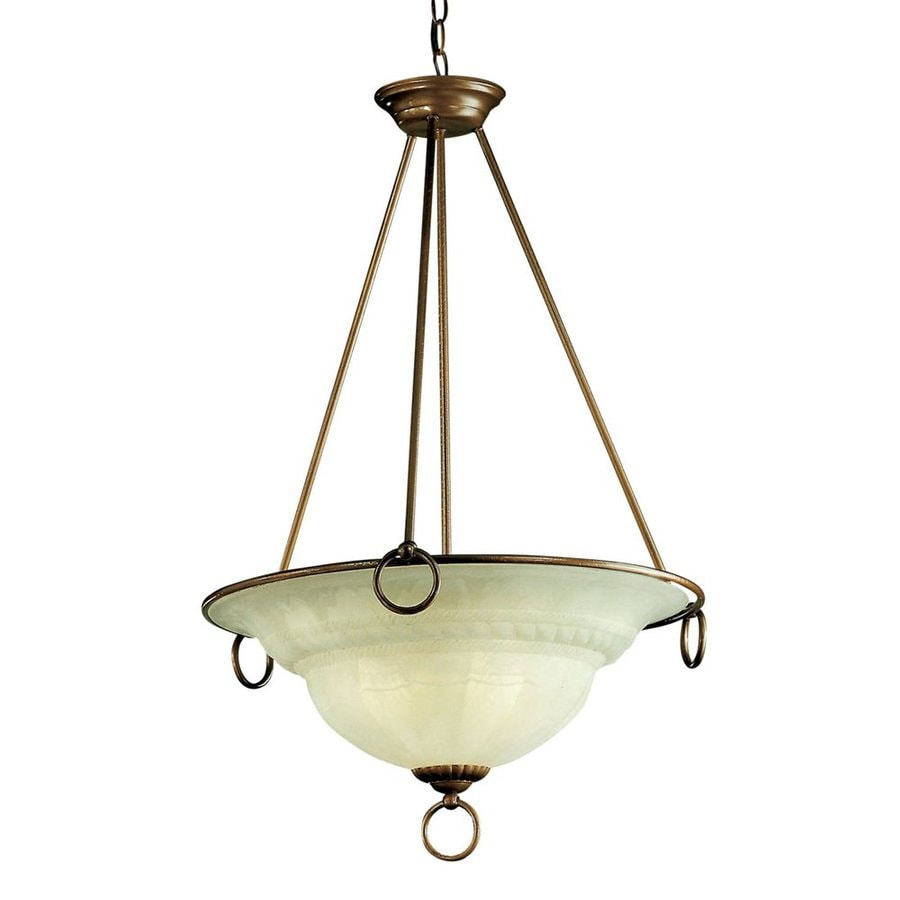 Classic Lighting Livorno 22-in English Bronze Single Alabaster Glass Bowl Pendant