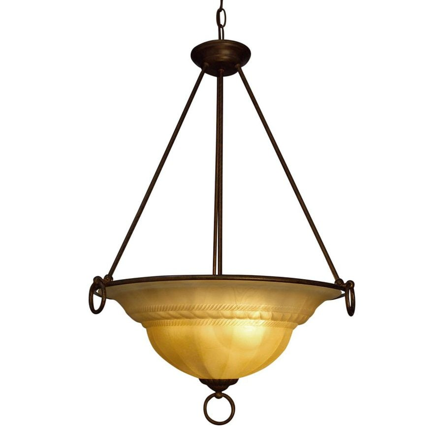 Classic Lighting Livorno 22-in English Bronze with Cream Mediterranean Single Alabaster Glass Bowl Pendant