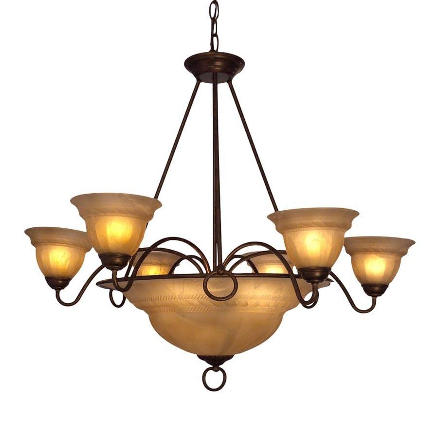 Classic Lighting Livorno 35-in 9-Light English Bronze with Cream Mediterranean Alabaster Glass Shaded Chandelier