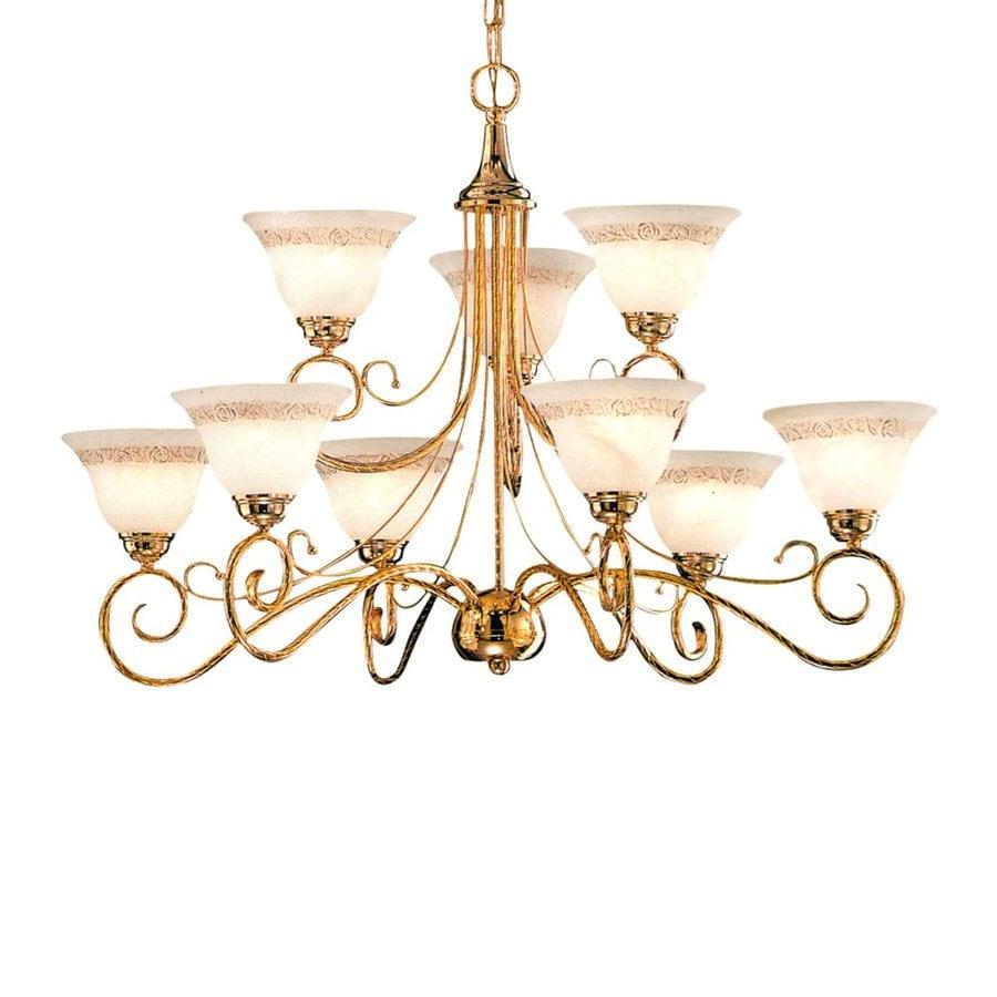 Classic Lighting Torino 34-in 9-Light Gold Mediterranean Tiered Chandelier