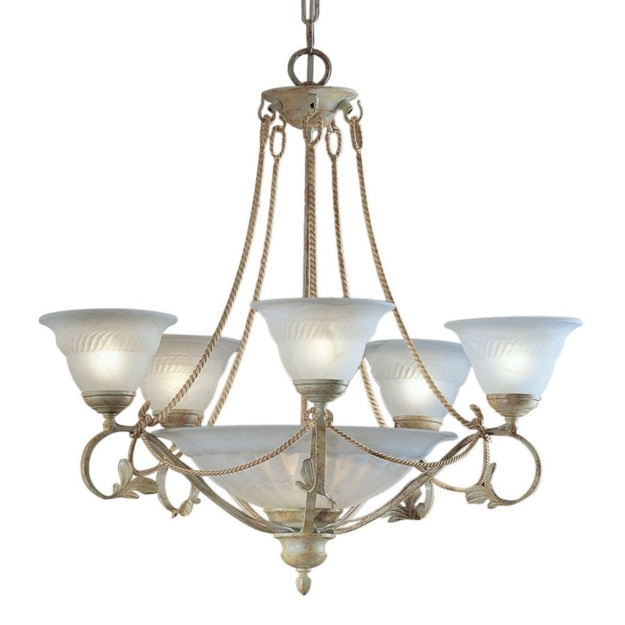 Classic Lighting Verona 31-in 8-Light Ivory Vintage Alabaster Glass Shaded Chandelier