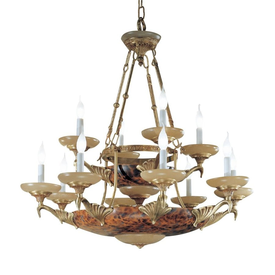 Classic Lighting Queen Anne Ii 37-in 14-Light Satin Bronze with Sienna Patina Alabaster Glass Candle Chandelier