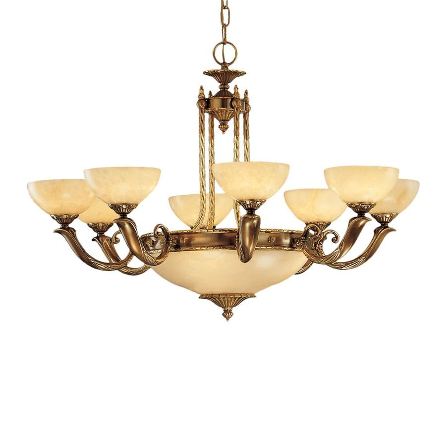 Classic Lighting Valencia 37-in 12-Light Antique Bronze Vintage Alabaster Glass Shaded Chandelier
