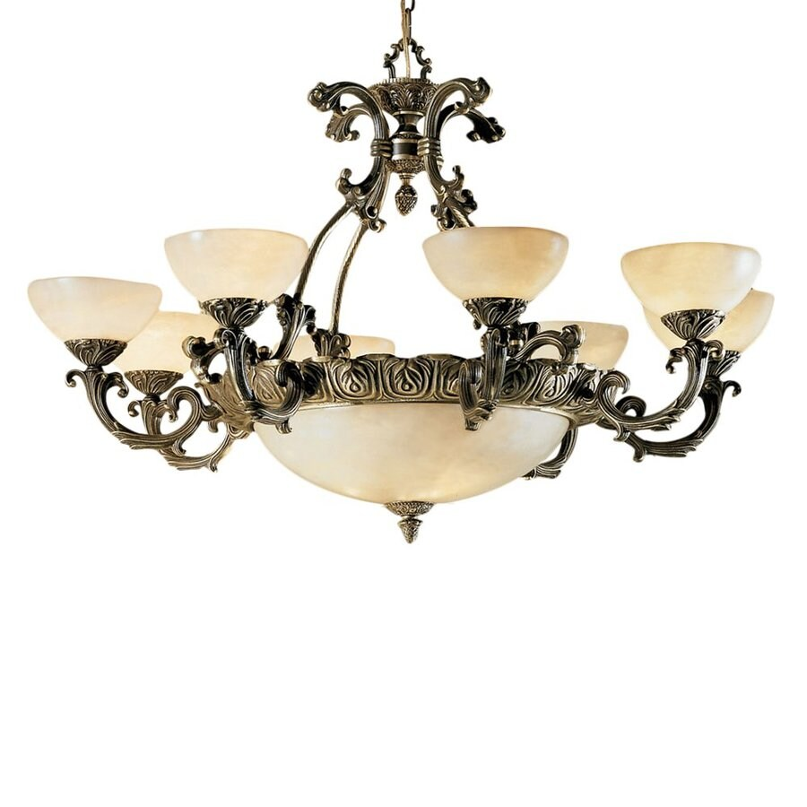 Classic Lighting Montego Bay 38-in 12-Light Roman Bronze Vintage Shaded Chandelier