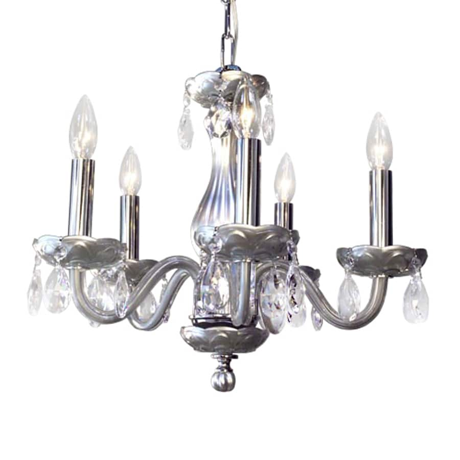 Classic Lighting Monaco 17-in 5-Light Silver Crystal Candle Chandelier