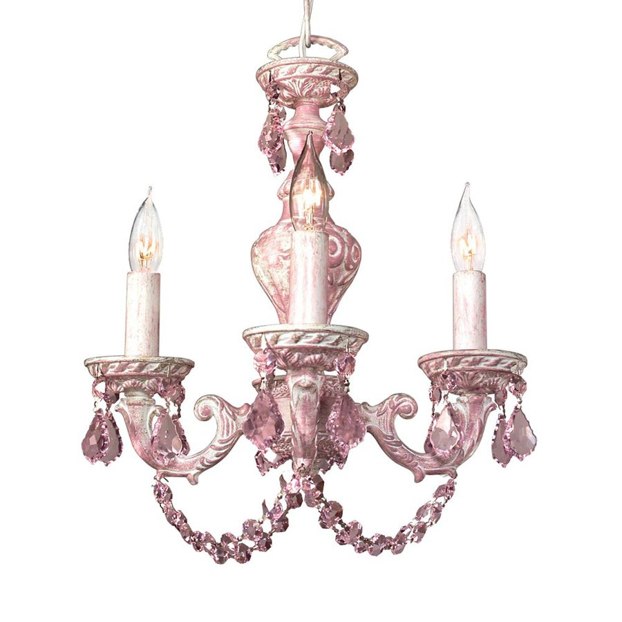 Classic Lighting Gabrielle 12-in 4-Light Pink Over Antique White Vintage Crystal Candle Chandelier