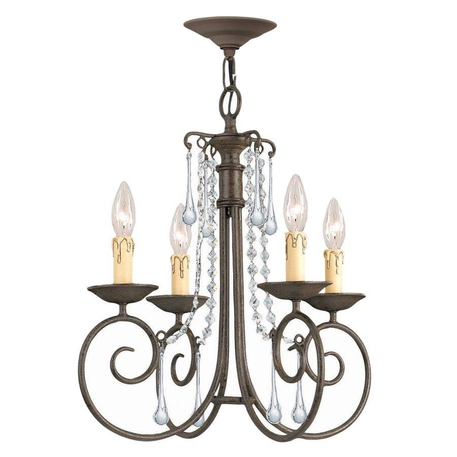 Cascadia Lighting 18-in 4-Light Dark Rust Crystal Candle Chandelier