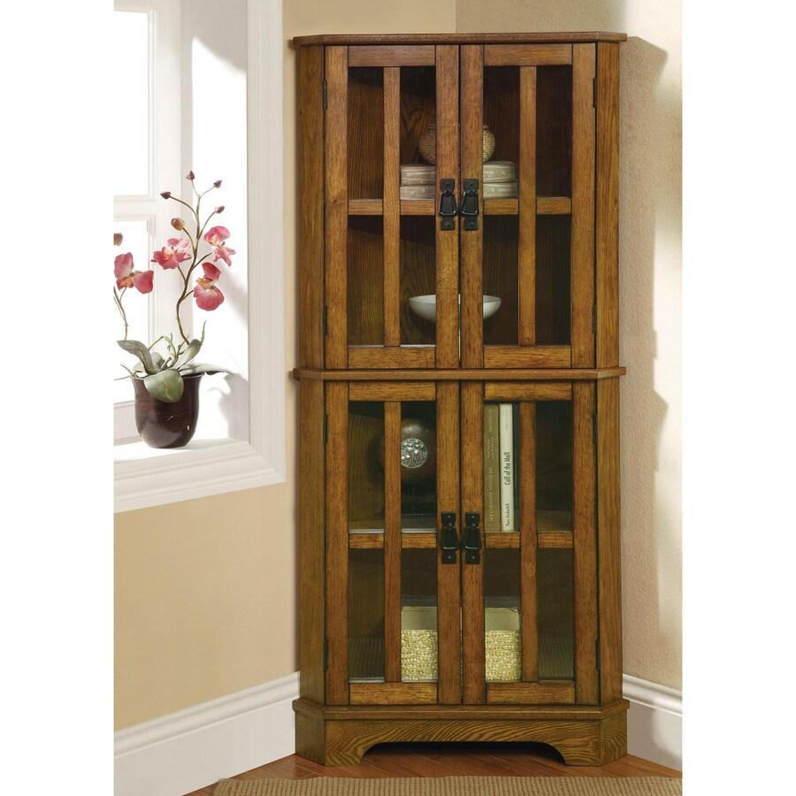 Coaster Fine Furniture Warm Brown Corner Curio Cabinet