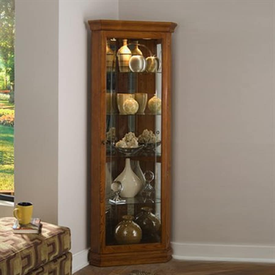 Shop Pulaski Golden Oak Ii Corner Curio Cabinet At Lowes Com