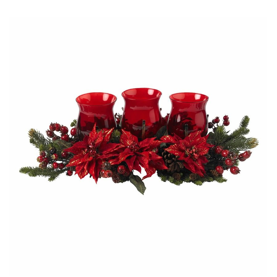 Nearly Natural Tabletop Candle Holder Indoor Christmas Decoration