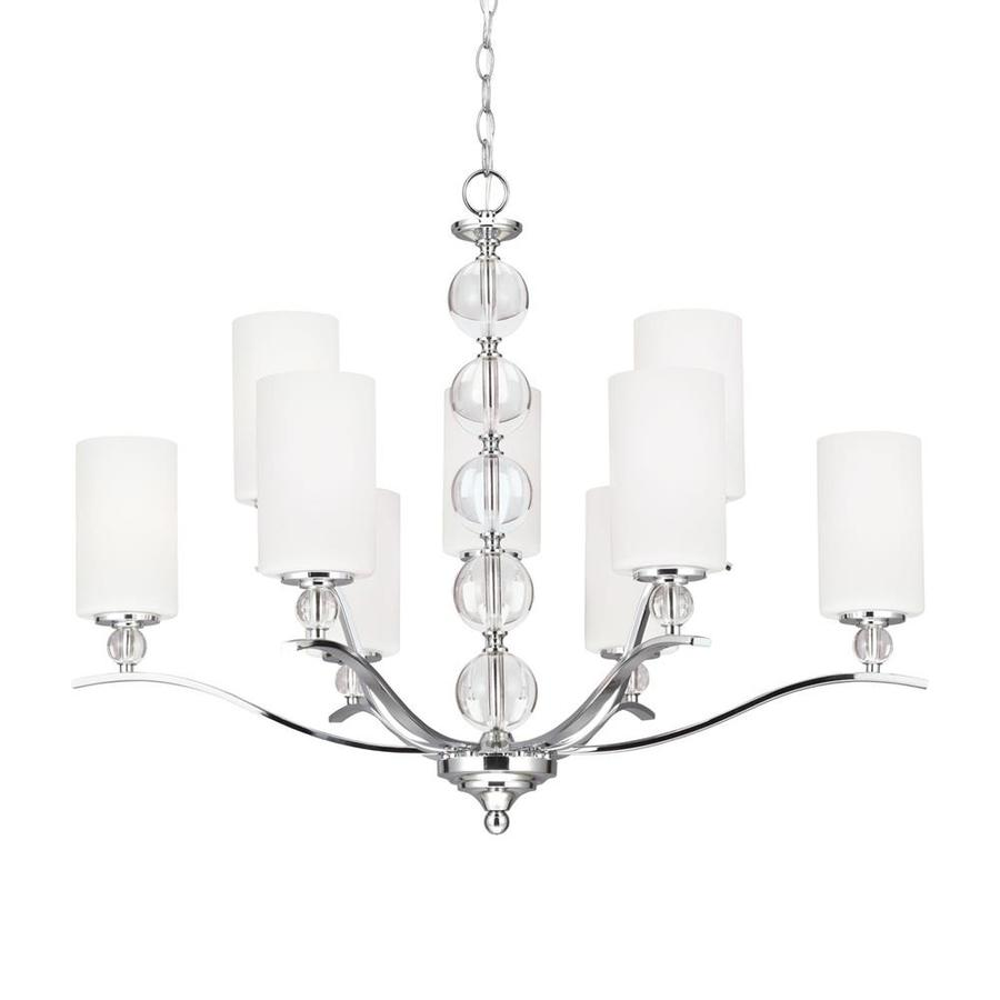 Sea Gull Lighting Englehorn 32.25-in 9-Light Chrome Crystal Etched Glass Shaded Chandelier