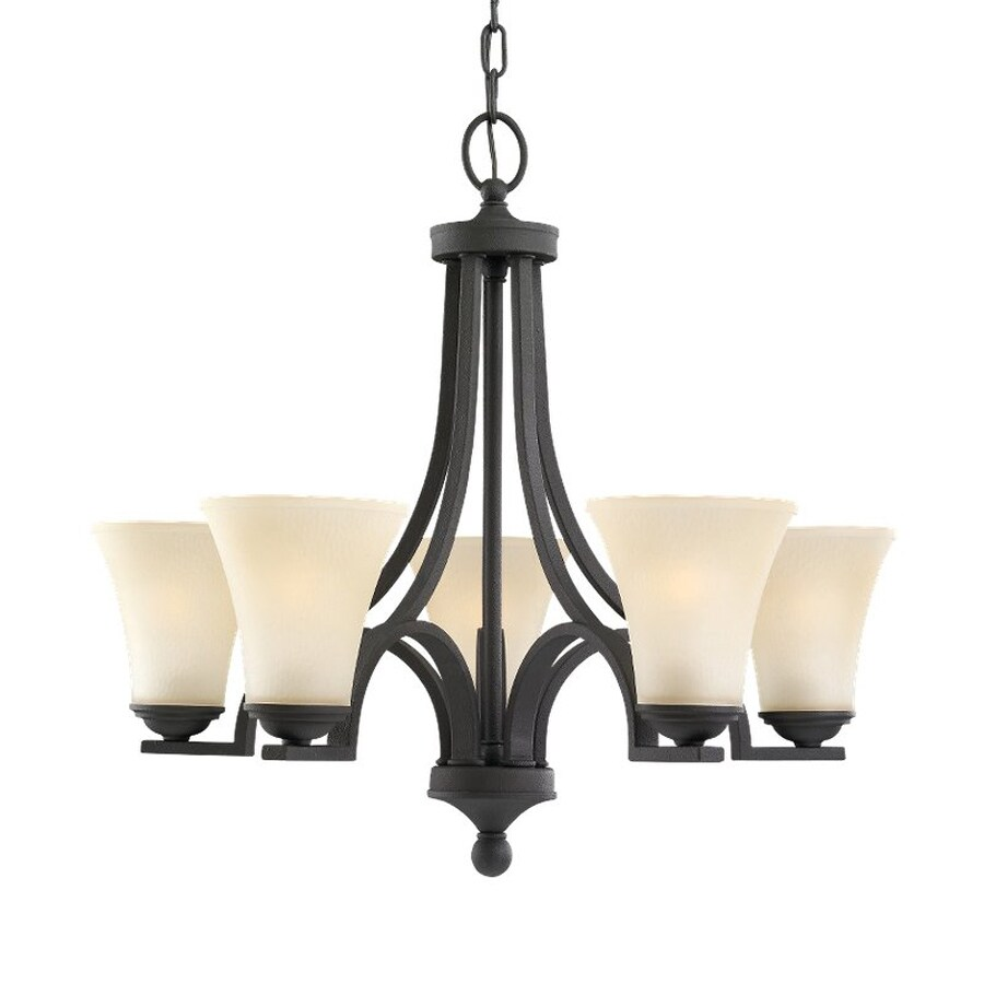 Sea Gull Lighting Somerton 24.75-in 5-Light Blacksmith Mediterranean Tinted Glass Shaded Chandelier