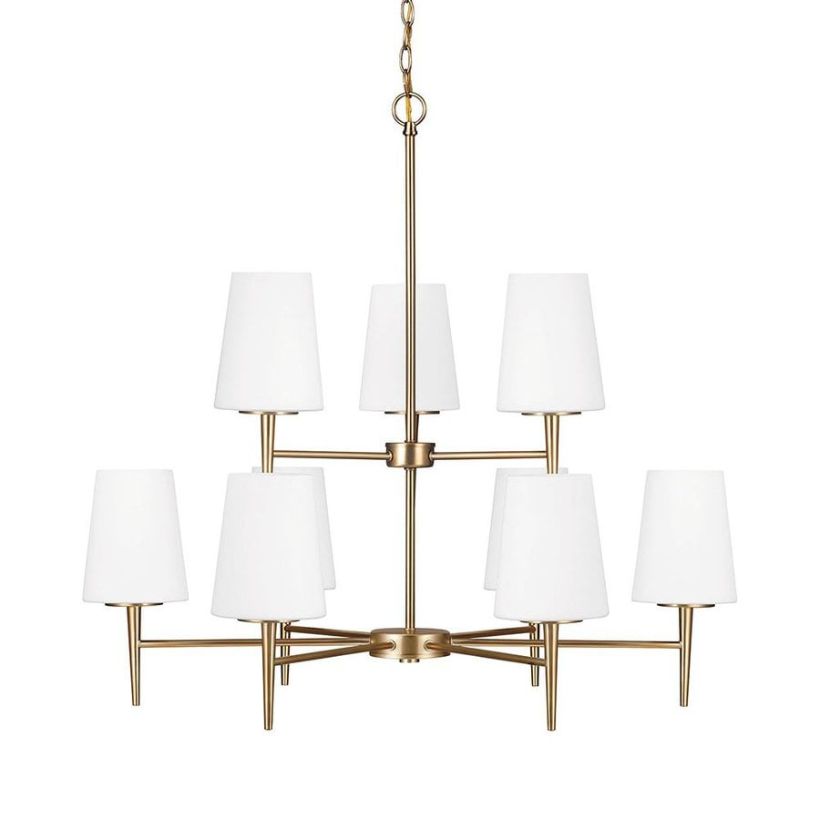 Sea Gull Lighting Driscoll 32-in 9-Light Satin Bronze Etched Glass Tiered Chandelier