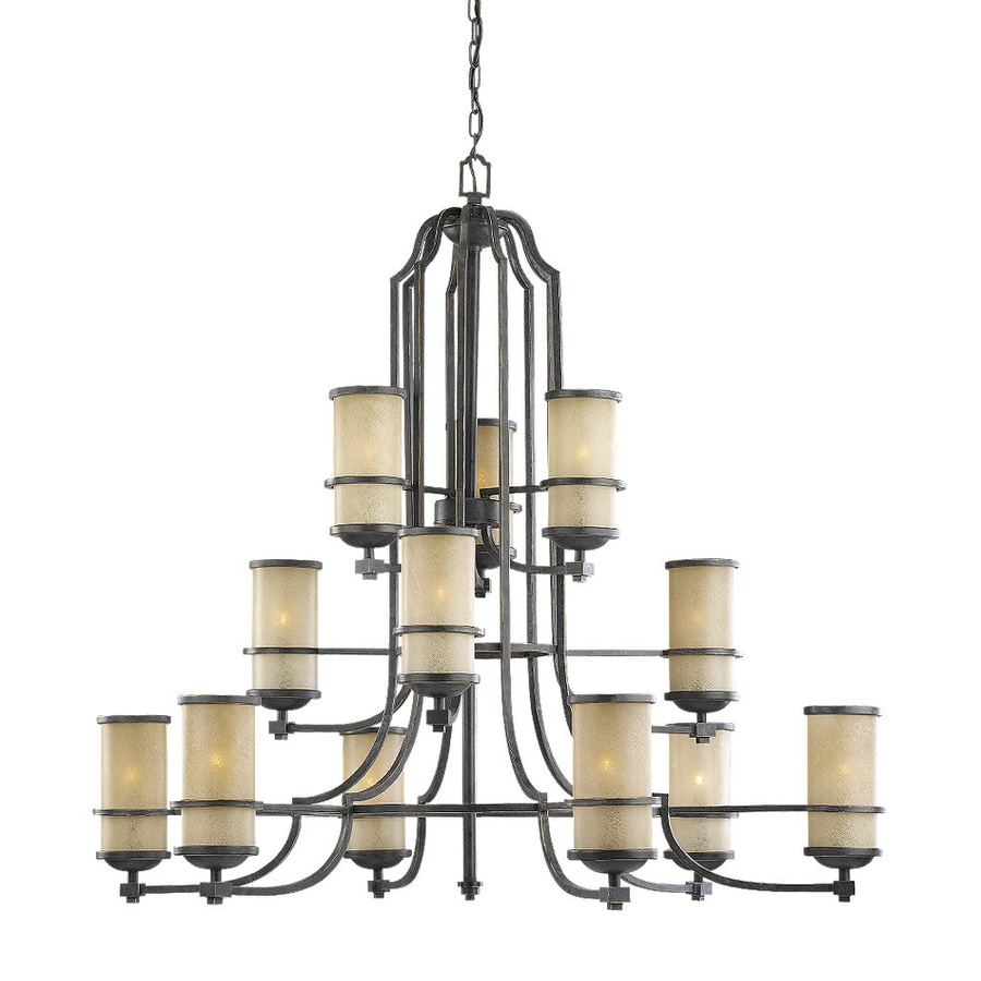 Sea Gull Lighting Roslyn 45-in 12-Light Flemish Bronze Mediterranean Tinted Glass Tiered Chandelier
