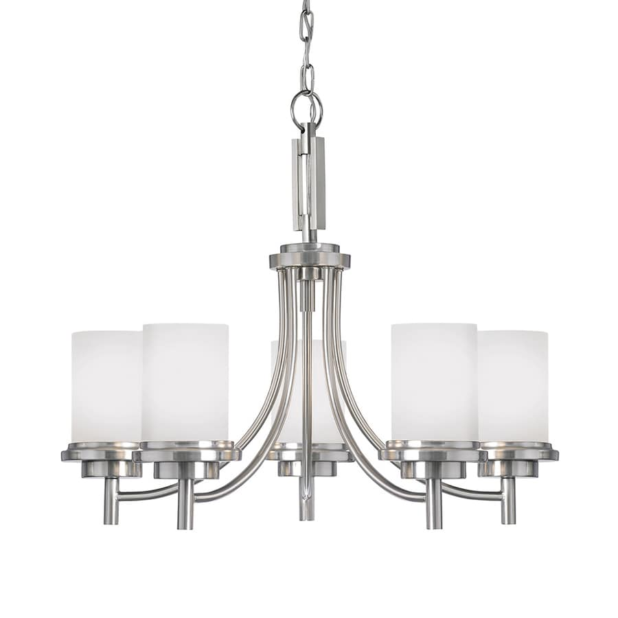 Sea Gull Lighting Winnetka 25-in 5-Light Brushed Nickel Etched Glass Shaded Chandelier