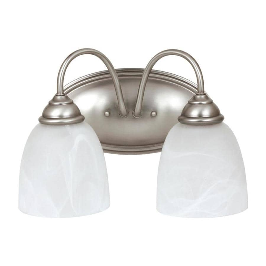 Antique Bathroom Vanity Lights : Shop Sea Gull Lighting 2-Light Lemont Antique Brushed Nickel Bathroom Vanity Light at Lowes.com