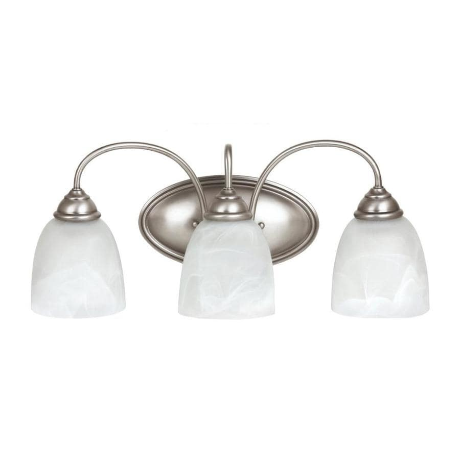3 Light Vanity Brushed Nickel : Shop Sea Gull Lighting 3-Light Lemont Antique Brushed Nickel Bathroom Vanity Light at Lowes.com