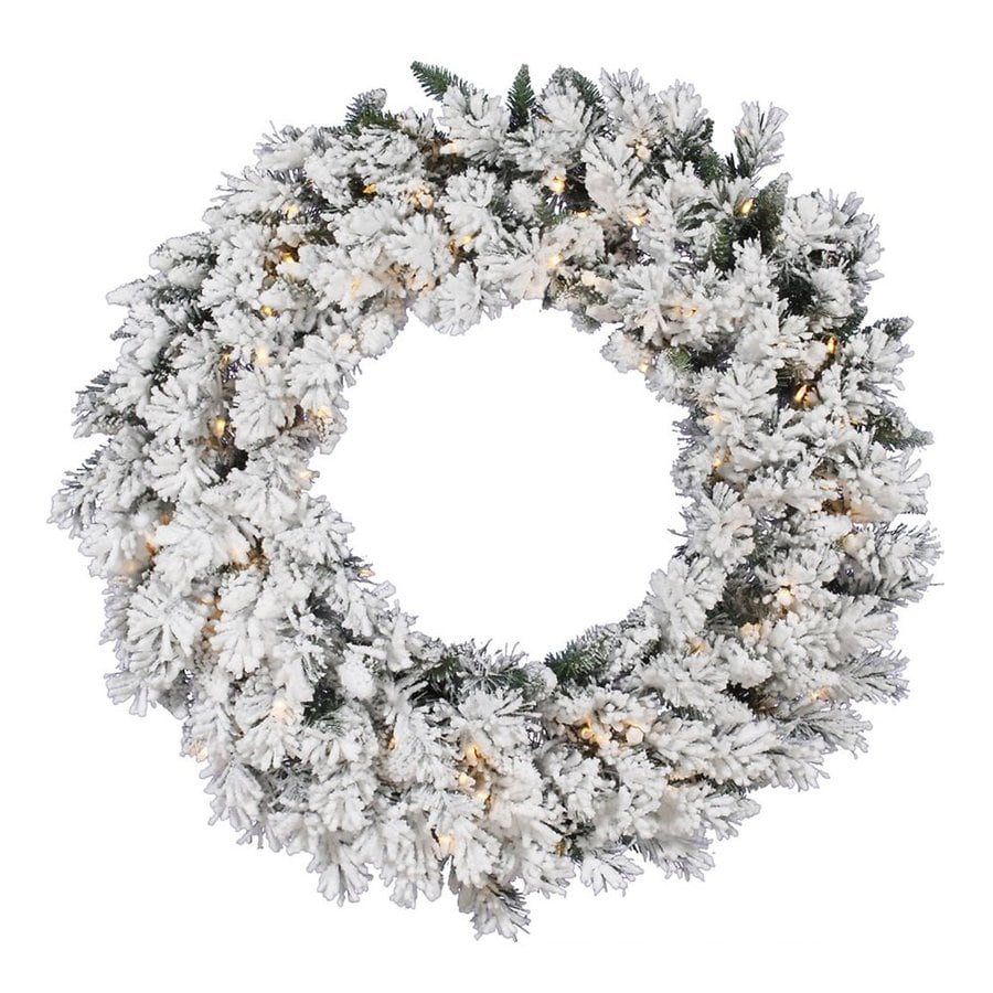 Vickerman Snow Ridge 42-in Pre-Lit Artificial Christmas Wreath with Warm White LED Lights
