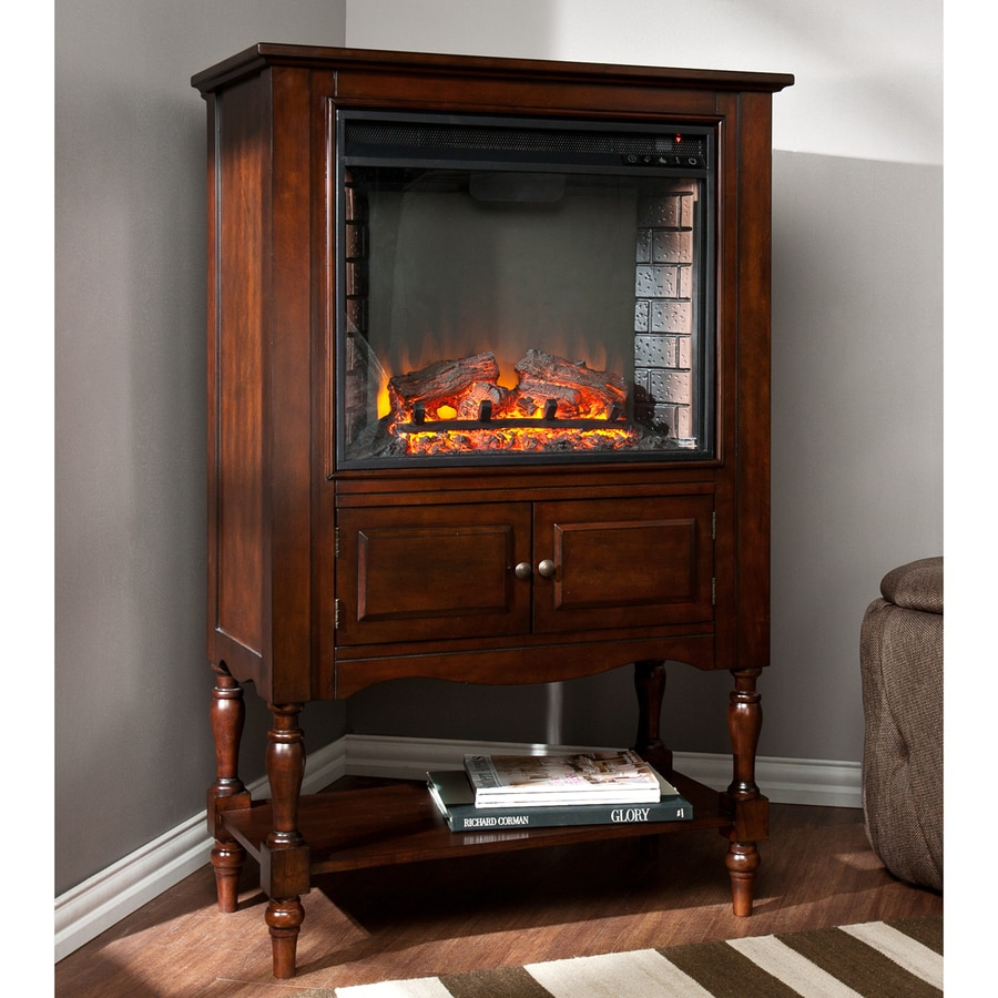 Boston Loft Furnishings 32.25-in W 4700-BTU Mahogany Wood and Metal Fan-Forced Electric Fireplace with Thermostat and Remote Control