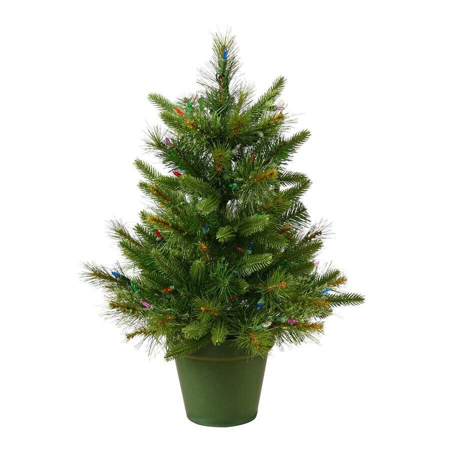 Vickerman 2-ft Pre-Lit Chasmere Pine Potted Artificial Christmas Tree with White Clear Incandescent Lights