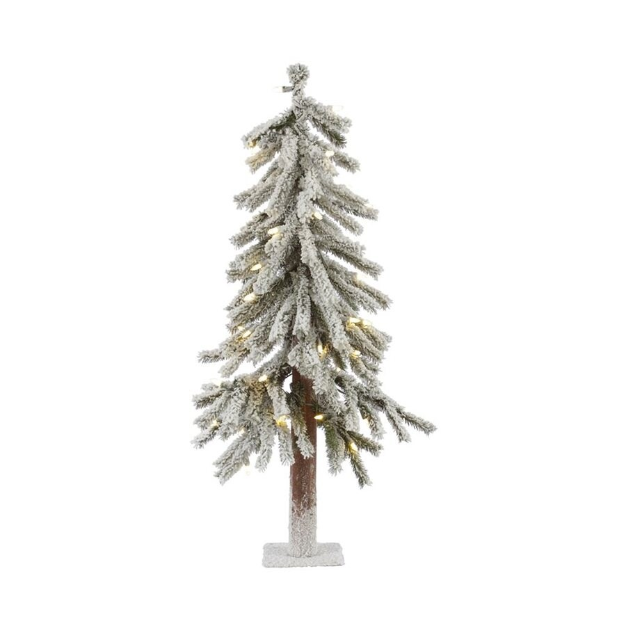 Vickerman 3-ft Pre-Lit Alpine Slim Flocked Artificial Christmas Tree with White Clear Incandescent Lights