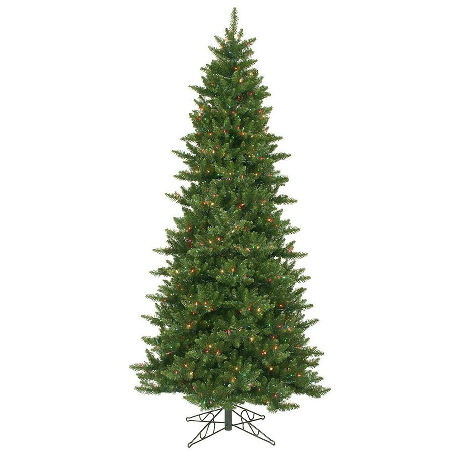 Vickerman 8.5-ft Pre-Lit Camdon Fir Slim Artificial Christmas Tree with Multicolor Incandescent Lights
