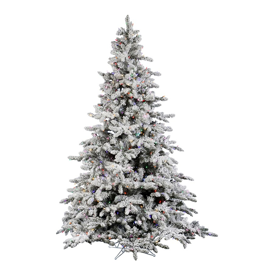 Vickerman 4.5-ft Pre-Lit Utica Fir Flocked Artificial Christmas Tree with Multicolor LED Lights