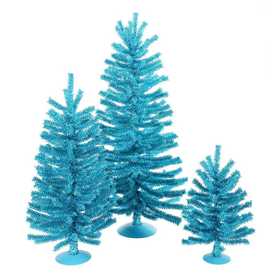 Vickerman 3-Piece Sky Blue PVC Tabletop Tree Set