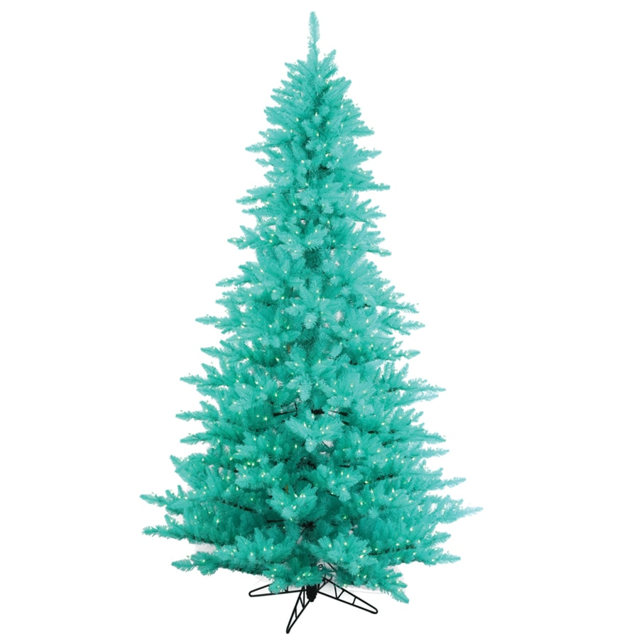 Vickerman 4.5-ft Pre-Lit Whimsical Aqua Artificial Christmas Tree with Blue Incandescent Lights