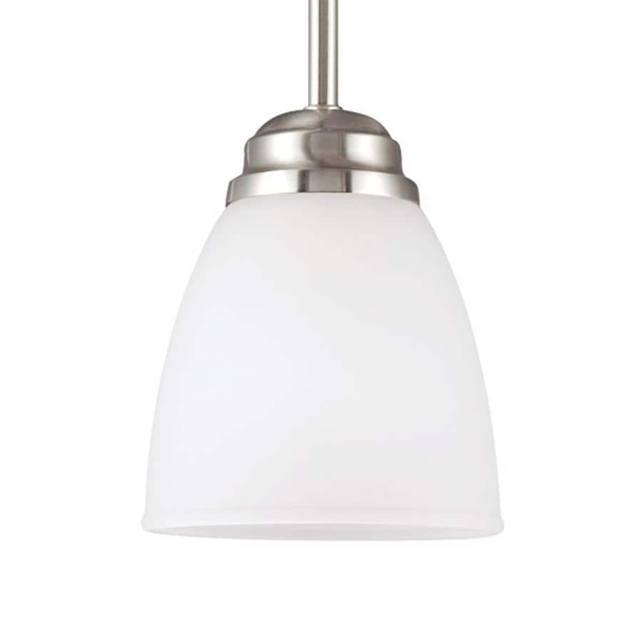 Sea Gull Lighting Northbrook 5.5-in Brushed Nickel Mini Etched Glass Bell Pendant