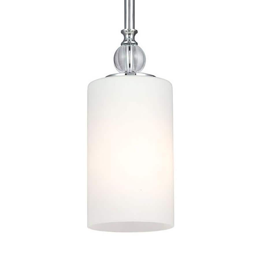 Sea Gull Lighting Englehorn 4-in Chrome Mini Etched Glass Cylinder Pendant