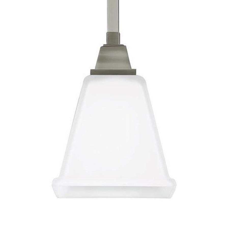 Sea Gull Lighting Denheim 5.75-in Brushed Nickel Craftsman Single Etched Glass Bell Pendant