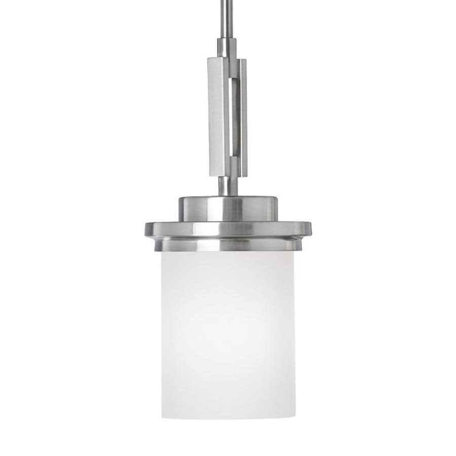 Sea Gull Lighting Winnetka 6.25-in Brushed Nickel Industrial Mini Etched Glass Cylinder Pendant