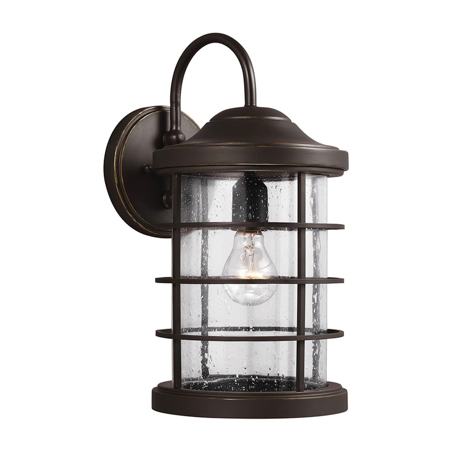 Shop Sea Gull Lighting Sauganash 16.75-in H Antique Bronze Outdoor Wall Light at Lowes.com