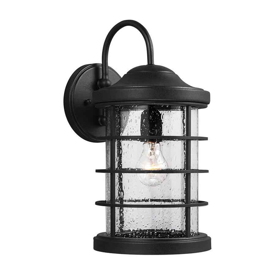 Sea Gull Lighting Sauganash 16.75-in H Black Outdoor Wall Light ENERGY STAR