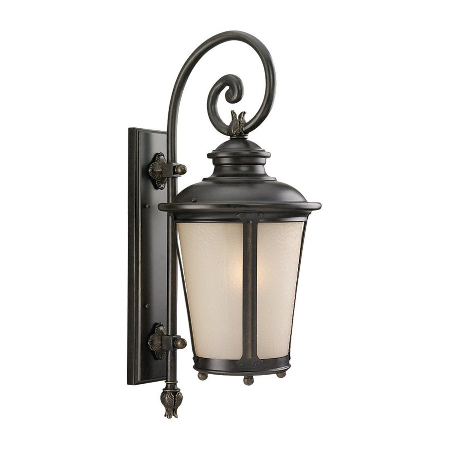 Sea Gull Lighting Cape May 26.5-in H Burled Iron Outdoor Wall Light
