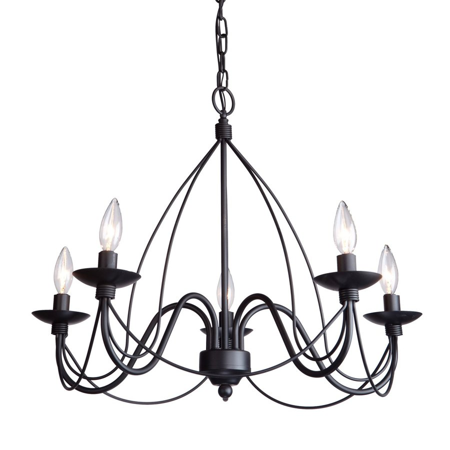 Artcraft Lighting Wrought Iron 24-in 5-Light Ebony Black Wrought Iron Candle Chandelier