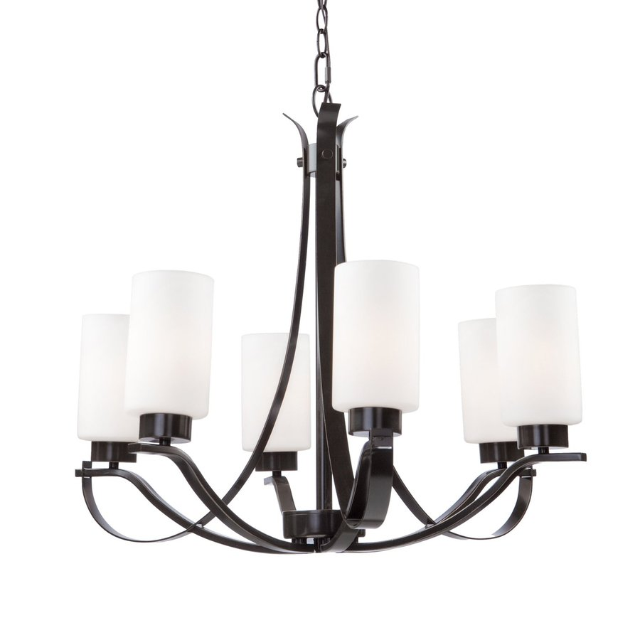 Artcraft Lighting Russell Hill 26-in 6-Light Oil Rubbed Bronze Shaded Chandelier