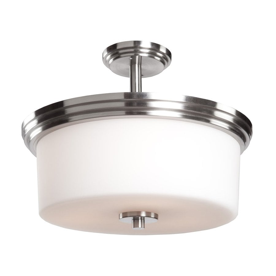 Artcraft Lighting Russell Hill 15-in W Polished Nickel Frosted Glass Semi-Flush Mount Light