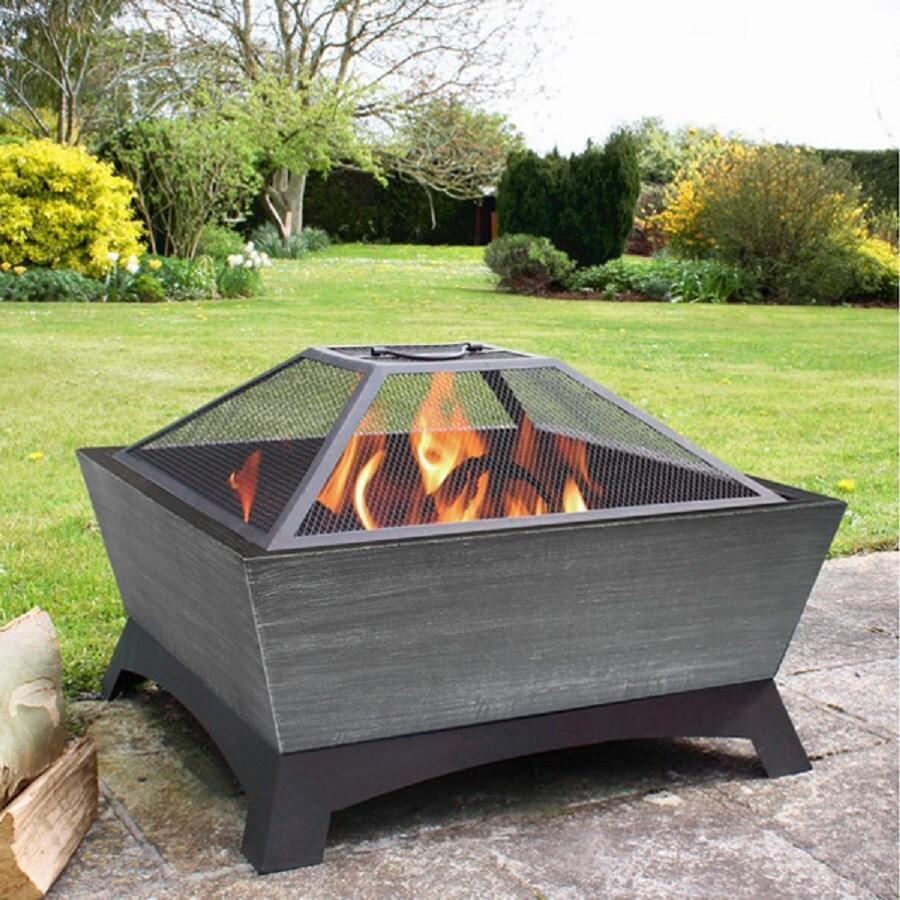 Jeco 26-in W Black/Silver Steel Wood-Burning Fire Pit