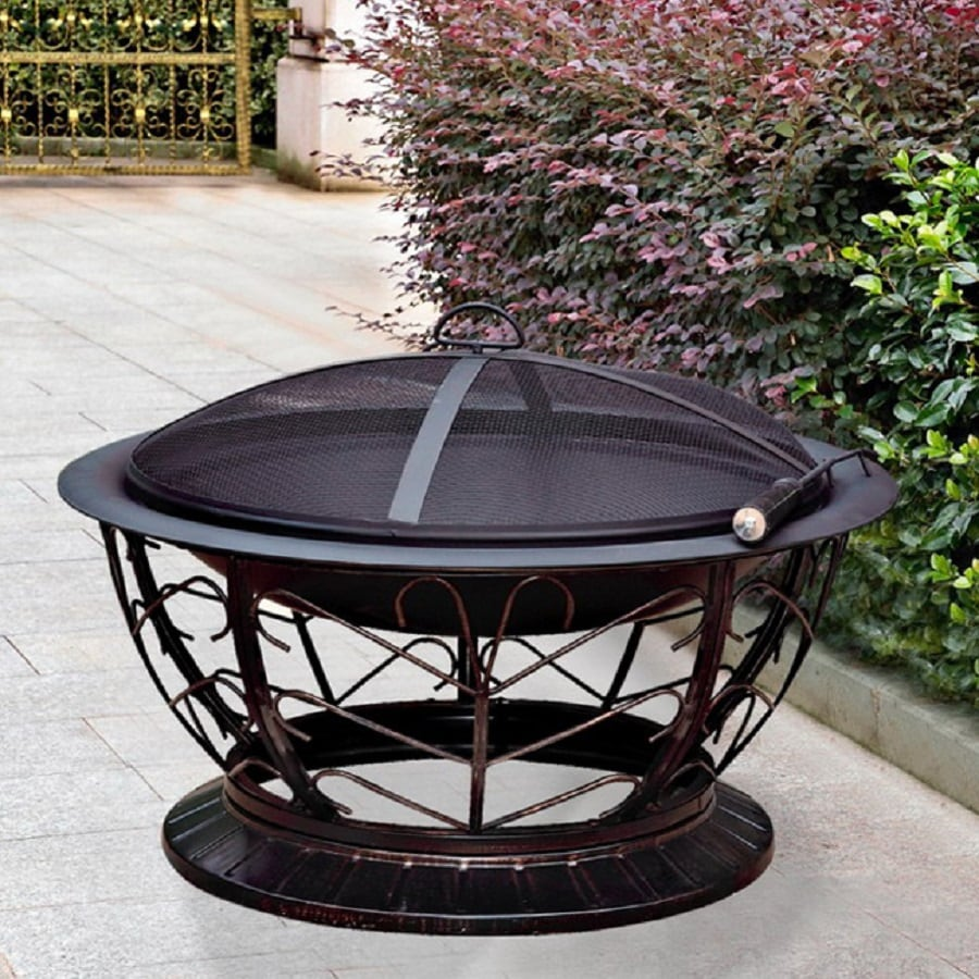 Jeco 30-in W Black/Red Bronze Steel Wood-Burning Fire Pit