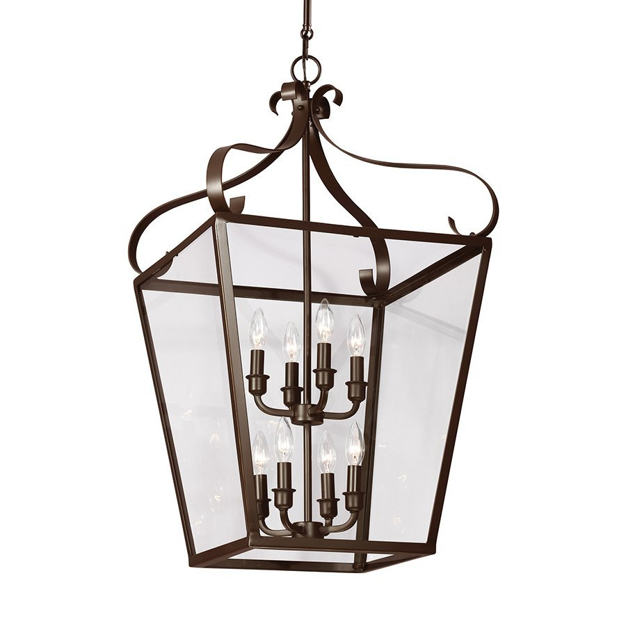 Sea Gull Lighting Lockheart 18-in Heirloom Bronze Wrought Iron Single Clear Glass Lantern Pendant